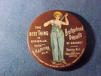 Early 20thc BROTHERHOOD OVERALLS Advertising POCKET MIRROR w Semi NUDE Image