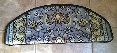 """PREMIUM Stair Tread Mats Runners Set of 15 Oval Edge Carpet Blue Gold Floral 26"""""""