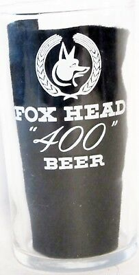 """Fox Head """"400"""" Beer Glass ~ 4 1/4"""" High ~ Excellent Condition"""