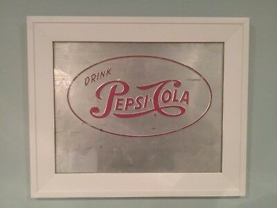 UNIQUE VINTAGE EMBOSSED METAL PEPSI SIGN, FRAMED, 17x14