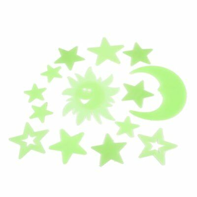 14 Pcs Bedroom Ceiling Luminous Plastic Moon Star Sun Design Sticker Green C2B5