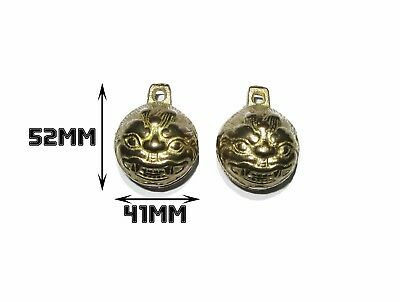 Rare Vintage Brass Bell Chinese Lion Feng Shui Ornamental Bells One Pair 5.2cm