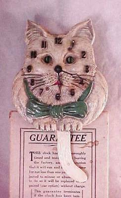 Vintage Wig Wag Cat Clock With Box No. 235 Works!