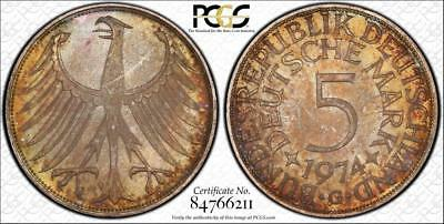 1974 D Germany Federal Republic 5 Mark Rainbow Toned Pcgs 66 Coin Collection Lot