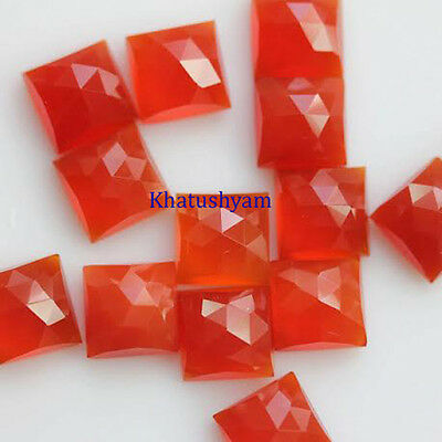 AAA Quality 10 Pieces Natural Carnelian 12x12 mm Square Rose Cut Loose Gemstone