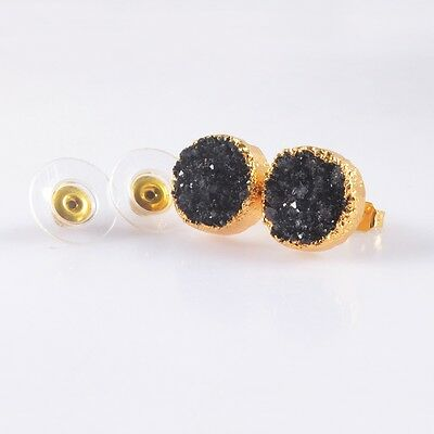 12mm Round Black Agate Druzy Geode Stud Earrings Gold Plated B039363