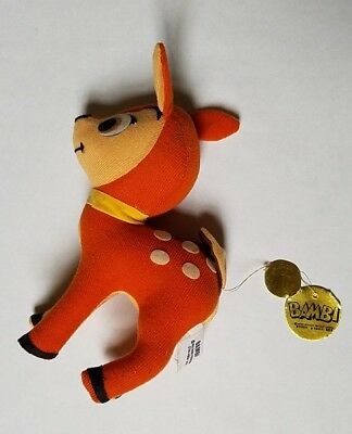 Very Vintage Walt Disney Productions Bambi Plush Doll W/ Original Gold Tag Toy