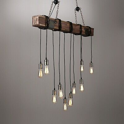 10-Light Dark Distressed Wood Beam Large Linear Island Pendant Lamp Chandelier