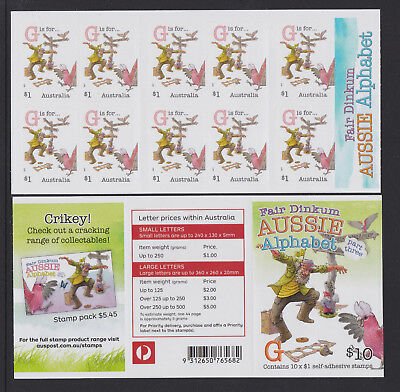 Australia 2017 : Fair Dinkum Aussie Alphabet Part 3 Booklet of 10 x $1 s/a Stamp