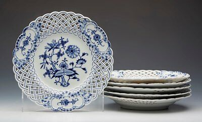 Six Antique Meissen Blue & White Onion Pattern Pierced Plates 19Th C