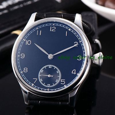 Corgeut 44mm Black Sterile Dial Mens 6498  Hand Winding Watch WCM2002BSBB02