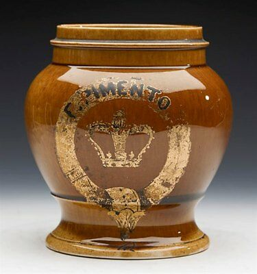 Antique Treacle Glazed Tobacco Jar Marked Pimento 19Th C