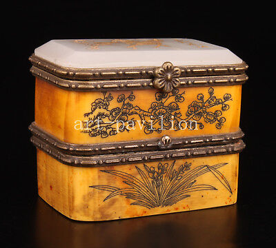 Cattle Bone Box Inlay Jade Double Painting Orchid Handicraft Collection