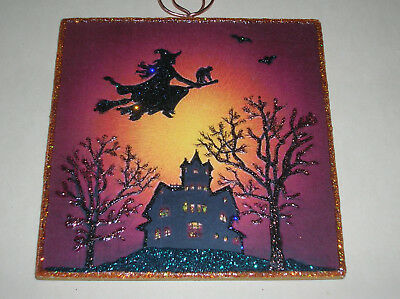 Halloween Witch Guards the House Glitter Wood Slice Ornament Vintage Image