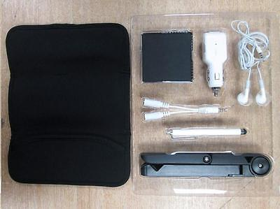 Tablet Starter Kit for iPad 1/2/3 - Case / Earphones / Stylus / Folding Stand /