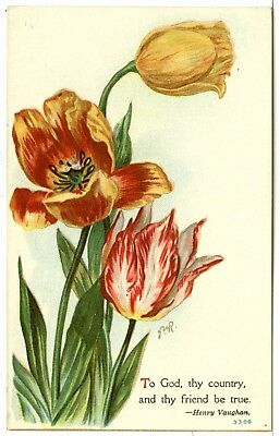 """Vintage, """"To GOD, thy country, and thy friend be true"""" by Henry Vaughan, Tulips"""