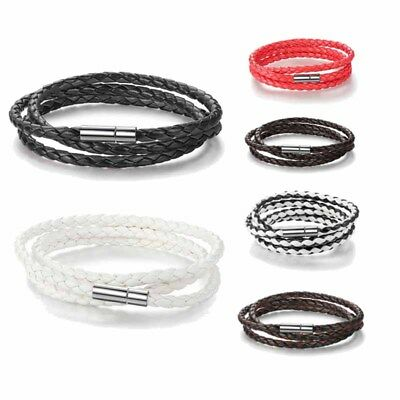 Womens Mens Long Chain Bracelets Buckle Magnet PU Leather New Unisex 6 Colors EB