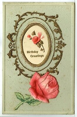 """Heavily Embossed, With a Cover that opens, Note Inside, """"Birthday Greetings""""..."""