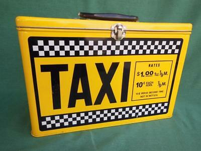 Yellow Taxi Rates Metal Lunch Box Pail Clean Tin Tote Black & White Checker