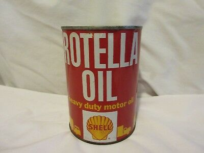 Vintage NOS Shell Rotella Metal Quart Oil Full Can