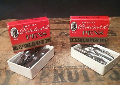 ORIGINAL BOXs of Vintage Esterbrook #322 Radio Dip Pen Nibs, USA,