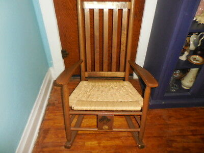 Ducks Unlimited Mission Style Rocking Chair, Nice Rattan Seat