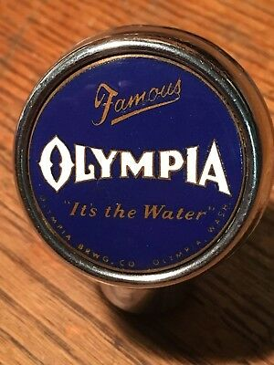 Vintage Famous Olympia Beer Tap Handle Ball Knob ad to your Back Bar Sign Items