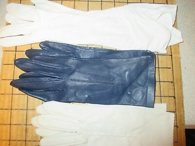 3 Prs LADIES GLOVES.BLUE LEATHER FROM MORLEY SIZE 7 & 2 OTHER PAIRS WHITE