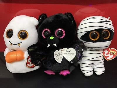 TY Beanie Boo 2017 Halloween Pack - Dart, Scream and Mummy. New + tags Free ship