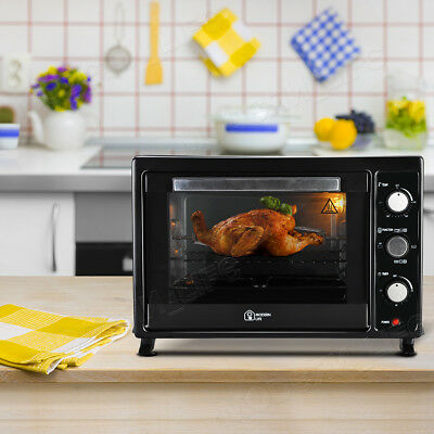 35L Mini Oven Black Rotisserie Table Top Cooker Grill Bake Kitchen Convection UK