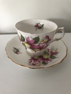 Royal Vale Fuschia Bone China Duo Tea Cup And Saucer Made In England