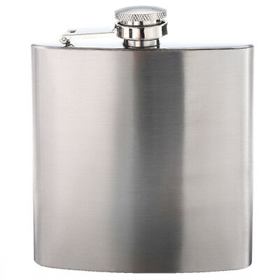 Stainless Steel 6oz Hip Flask Screw Cap for Whisky Alcohol WS F3H2 I4V4