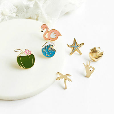 Shell Starfish Coco Brooch Pin Enamel Women Fashion Jewelry Party Accessory Gift