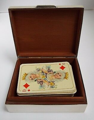 Lovely English Antique 1953 Solid Sterling Silver Table Playing Card Box & Cards