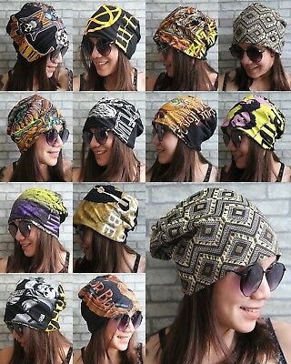 Handmade Reversible Slouchy Beanie Rock Music Tribal Indy Hipster Street Style