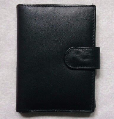 GENUINE LEATHER VINTAGE WALLET BI-FOLD CARDS NOTES COINS ID 1980s 1990s BLACK