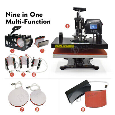 "12x15"" Heat Press Transfer Machine 9 in 1 Sublimation Embossing Stamping T-shirt"