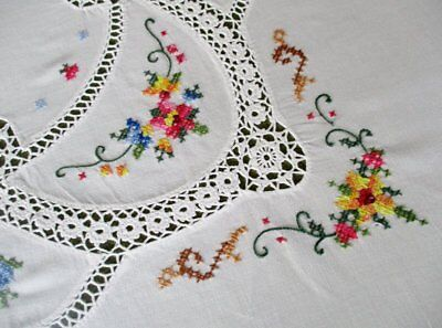 PRETTY TABLECLOTH-HAND EMBROIDERED with CROCHET DECORATION