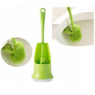 Toilet Brush Plastic Handle Bathroom Scrub Double Sided Cleaning Brush With Base