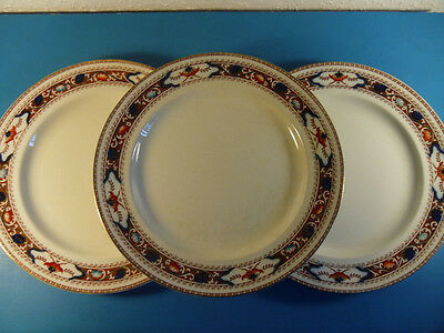 3 Antique S.Hancock & Sons Lotus Corona Ware Khang Chinese Style Dinner Plates