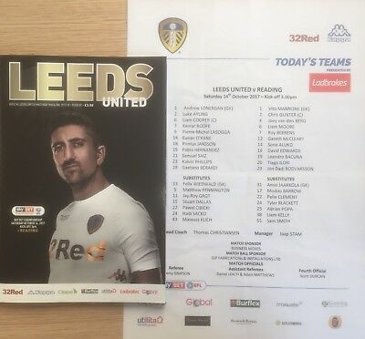 Leeds United V Reading. 14/10/2017. Programme & Team Sheet. MINT CONDITION!