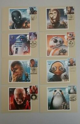 2017 Star Wars First Day PHQ POSTCARDS Front 12.10.17 8 different postmarks