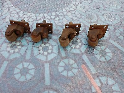 Vintage Industrial Castors Trolley Wheels Cast Iron piano set4 Old £20 post  £5