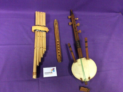 Collection of Vintage Musical Wooden Instruments