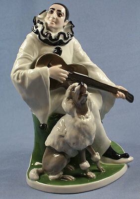 X-large Duett marcuse  figurine Rosenthal poodle with pierrot 1917 porcelain