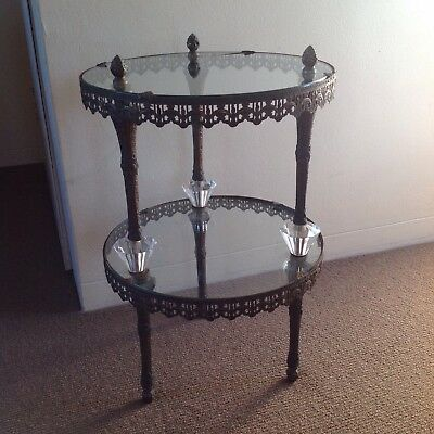 ANTIQUE ORNATE BRASS, GLASS And CRYSTAL TABLE / SHELF / STAND