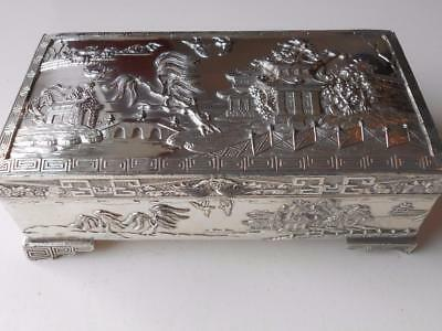 Super Quality Heavy Antique Vintage Silver Plated Japanese Chinese Box Casket