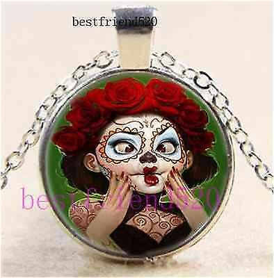 day of the dead make up goth ROCK GOTHIC CUTE MYSTICAL glass necklace pendant