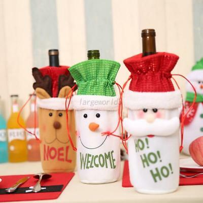 Lovely Red Wine Bottle Cap Party Bags Cute Santa Claus Christmas Store Bag Decor