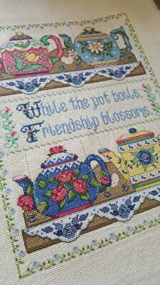 """a new embroidered cross-stitch """"collection of teapots."""" ready-made gifts"""